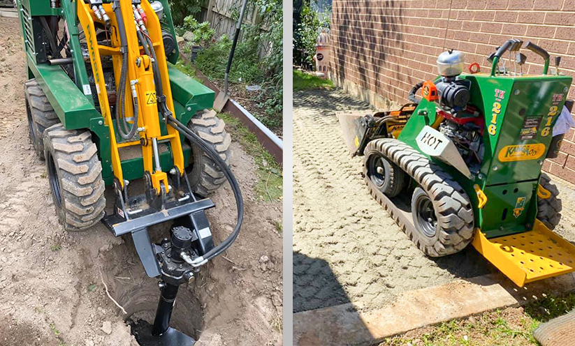 Kanga Loaders 6 series drilling with auger and Kanga kid with 4in1 bucket